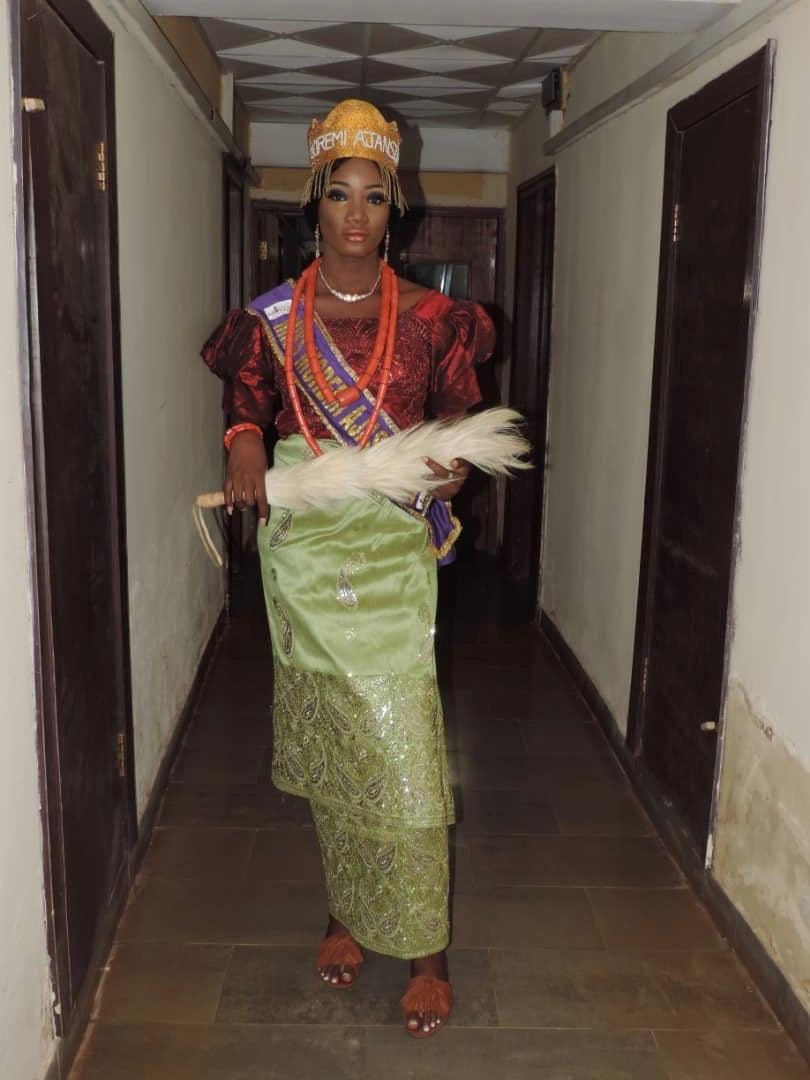 The current Queen Moremi Ajasoro dressed in a traditional Ibo outfit