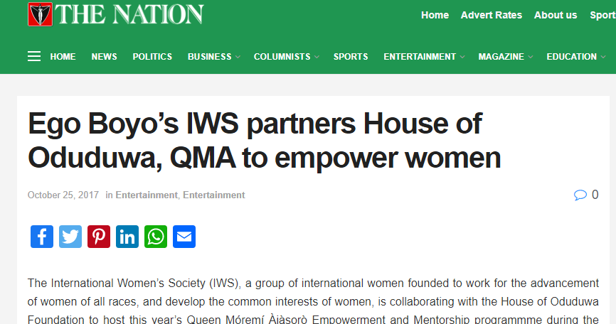 Ego Boyo's IWS partners House of Oduduwa, QMA to empower women